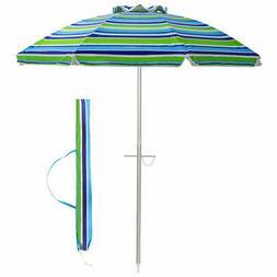 6.5FT Patio Beach Umbrella Sun Shade Tilt Aluminum Sports W/