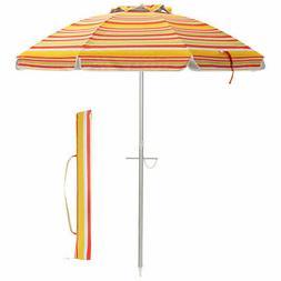 6.5FT Patio Beach Umbrella Sun Shade Tilt Aluminum Sports Po