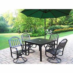 6 Pc Dining Set with Square Table, 4 Swivels and Umbrella wi