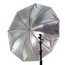 "GTX Studio 60"" Black/Silver Umbrella with 10 Panels Fibergla"