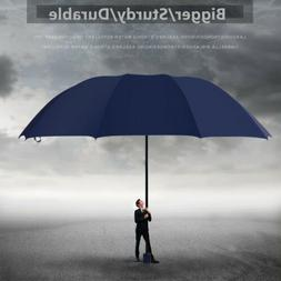 "60"" Large Rain Umbrella Unisex Three folding Windproof Compa"