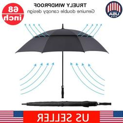 "62"" Auto Golf Umbrella Double Canopy Vented Windproof Carbon"