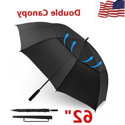 "62"" Double Canopy Auto Open Golf Umbrella - Oversize Windpro"
