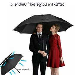 "62""Extra Large Golf Umbrella Automatic Open Anti UV Sun Prot"