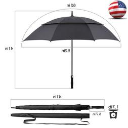 "62"" Large Golf Umbrella Windproof Double Canopy Auto Open Co"