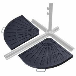 62lbs Patio Umbrella Base 2-Piece Stand Fan-shape Outdoor Ta