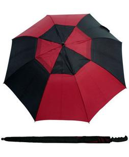 "68"" Arc Stick Auto Open Golf Umbrella - Black/Red"