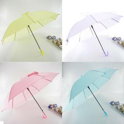 6Colors Transparent Clear Umbrella Long Handle Straight Stic