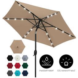 7.5' Solar LED Lighted Patio Umbrella Deck Table Tilt Adjust