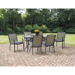7 Piece Patio Dining Set 6 Chairs 1 Table w/ Hole For Umbrel