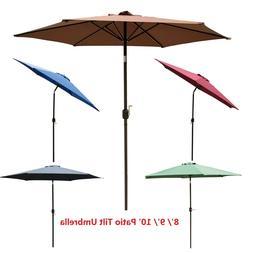 8/9/10 ft Outdoor Patio Umbrella Market Yard Garden Sunshade