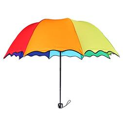 8 Colors Rainbow Umbrella Portable Tri-Folded Umbrella for R