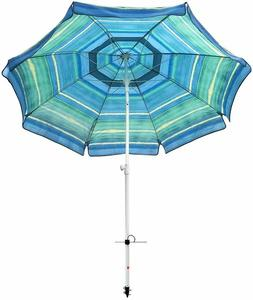 7 ft Striped Color Reinforced Beach Umbrella Tilt Aluminum P