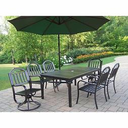 8 Pc Dining Set with Table, 4 Chairs, 2 Swivels, Umbrella an