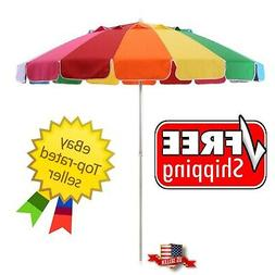 8ft Rainbow Beach Umbrella Extra Large Durable Polyester Cov