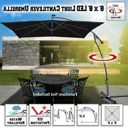 8x8 Solar Umbrella Patio Square Cantilever Umbrella Outdoor