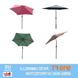 9/10FT Outdoor Patio Umbrella Canopy Market Shelter Tilt W/C