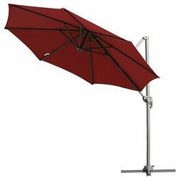 9.5' Hanging Tilt Offset Cantilever Patio Umbrella with Ba