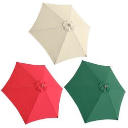 9 Ft 6-Rib Outdoor Patio Umbrella Replacement Canopy Red Gre