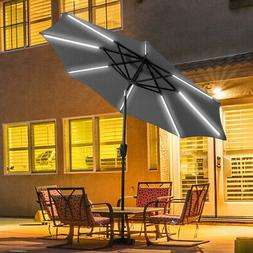 9 FT Patio Solar Umbrella LED Tilt Deck Waterproof Garden Ma