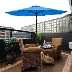 9' Outdoor Patio Umbrella Crank Tilt 8-rib with Base Stand M