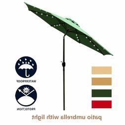 9' Patio Outdoor Patio Umbrella with Solar Lights Table Umbr