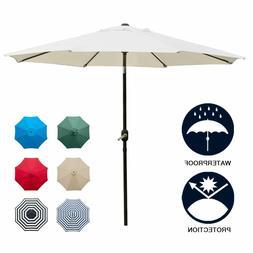 9' Patio Umbrella Outdoor Table Umbrella with 8 Sturdy Ribs