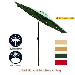 Leisurelife 9' Patio Umbrella With Solar Lights Outdoor - Gr