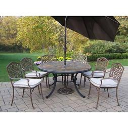 9 Pc Dining Set with Stone Top Table, 6 Chairs, Umbrella and