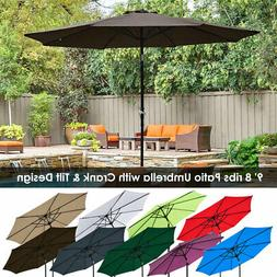 9ft 8 Ribs Outdoor Patio Umbrella Crank Tilt Market Yard Bea