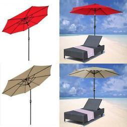 9FT 8Ribs Aluminum Patio Umbrella Market Sun Shade Steel Til