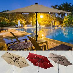 9FT Patio Solar Umbrella LED Patio Market Steel Tilt W/ Cran