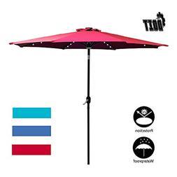 DOIT 9ft Solar LED Lighted Patio Table Umbrella with Crank a