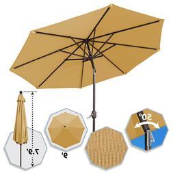 9Ft Table Aluminum Patio Umbrella with Auto Tilt Crank Sunbr