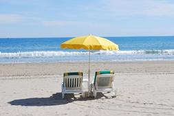 BEACH CHAIRS YELLOW UMBRELLA OCEAN WAVES MOUSE PAD  9 X 7 in