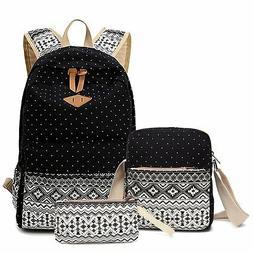 Canvas Dot Backpack Cute Lightweight Teen Girls School Shoul