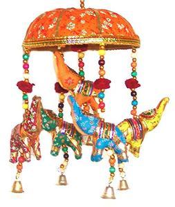 Indian Traditional Elephant Orange Umbrella Hanging Layer Of