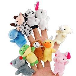 LEORX 10pcs Different Cartoon Animal Finger Puppets Soft Vel