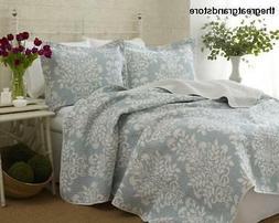 Laura Ashley Rowland Blue Quilt Set, King