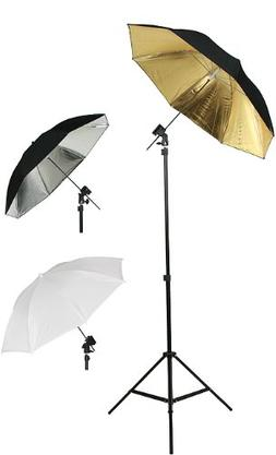 Photography Photo Studio Flash Mount Umbrellas Kit Three Umb
