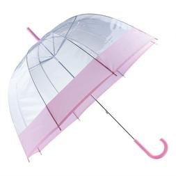"""All-Weather 42"""" Pink & Clear Dome Umbrella"""
