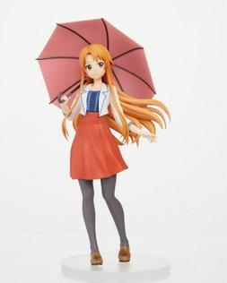 Anime Sword Art Online SAO Yuuki Asuna Casual Dress w/Umbrel