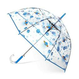 ShedRain Auto Open Clear Space Print Clear Bubble Umbrella: