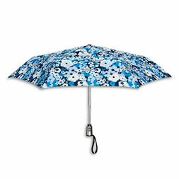 auto open close compact umbrella blue floral