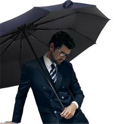 Auto Open/Close Folding Umbrellas Large Rain 10-Rib Windproo