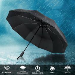 "Mens Womens Lrg 38/"" Windproof Auto Automatic Open//Close Rain//Sun 3 Fold Umbrella"