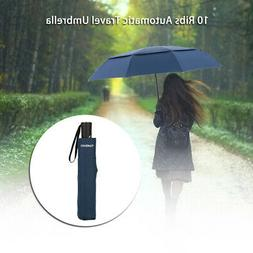 TOMSHOO Unisex Auto Open/Close Umbrella  Large Vented Double