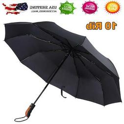 Automatic Folding Compact Umbrella Windproof 10 Ribs Men Wom