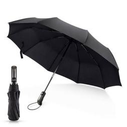 Automatic Folding Umbrella Rain Windproof Compact With 10 Ri