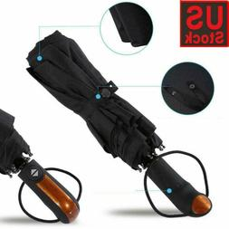 Automatic Open Black Long Handle Extra Large Windproof Anti-